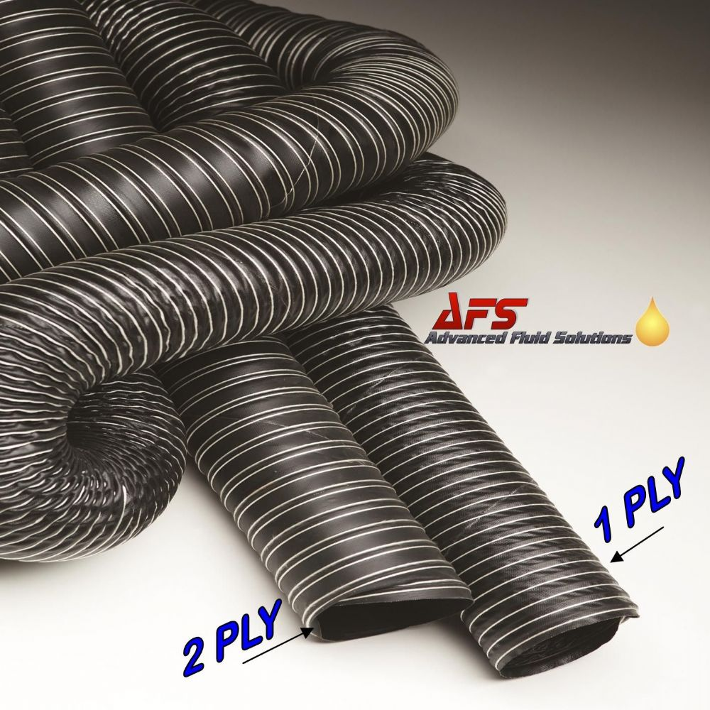 140mm I.D 1 Ply Neoprene Black Flexible Hot & Cold Air Ducting